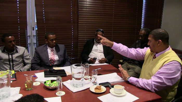 Somali businessmen at the meeting with Deputy minister Marius Fransman held at City Lodge in Bellville, Cape Town (Hassan Isilow)